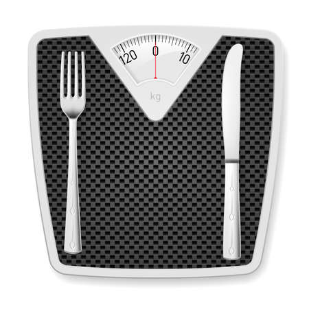bathroom weight scale: Bathroom scales with fork and knife as concept of diet and overweight.