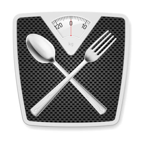 eat healthy: Bathroom scales with crossed fork and spoon as concept of diet and overweight. Illustration