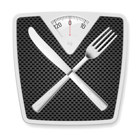 lose weight: Bathroom scales with fork and knife as concept of diet and overweight.
