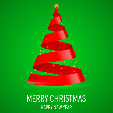 Red ribbon Christmas tree on green background. Greeting card. Vector