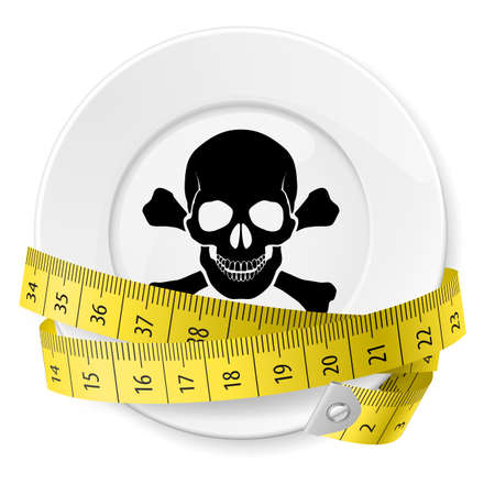 Plate with measuring tape and skull with crossed bones. Diet concept.