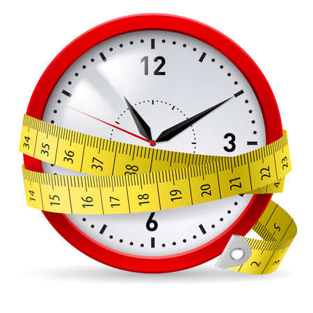 kilograms: Clock with measuring tape as concept of diet with time limit.