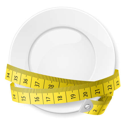 cintas metricas: Limpie la placa con cinta métrica como concepto de dieta.