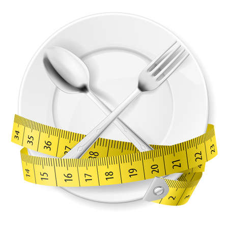 Plate with measuring tape and crossed fok and spoon. Diet concept. Vector