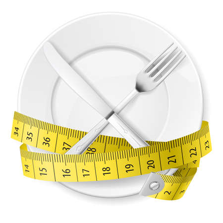 measure tape: Plate with measuring tape and crossed fok and knife. Diet concept. Illustration