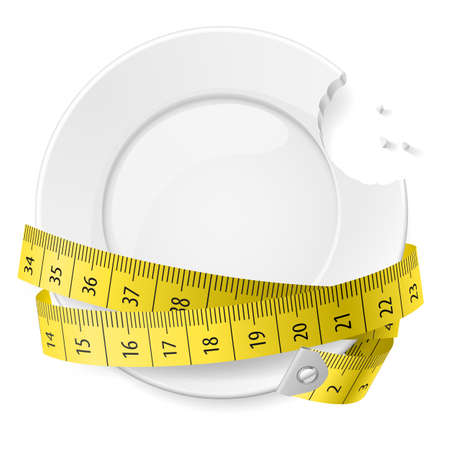 Bitten plate with measuring tape. Diet concept. 向量圖像