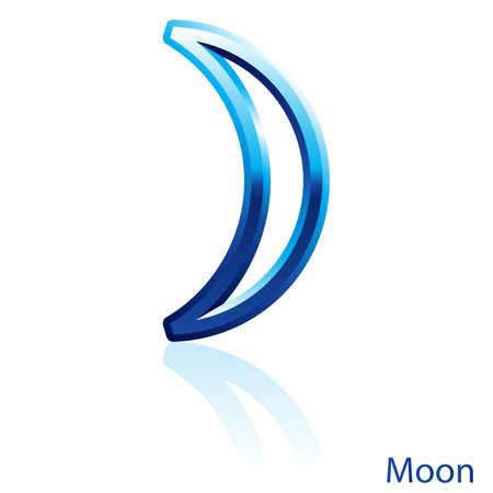 crescent moon: Shiny blue Moon sign on white background.