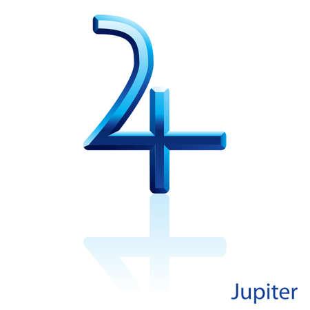 j�piter: Brillante signo Jupiter azul sobre fondo blanco.