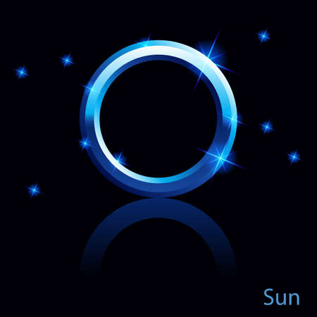 Shiny blue Sun sign on black . Vector