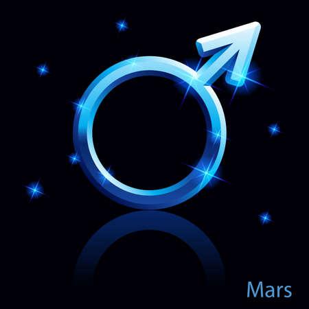 Shiny blue Mars sign on black background.