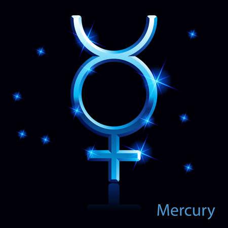 glisten: Блестящий синий знак Меркурий на черном.