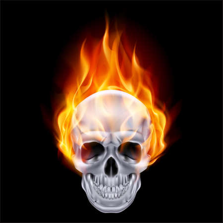 devil: Illustration of chrome fire skull on black .