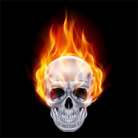 diavoli: Illustrazione di cromo fuoco teschio su fondo nero.