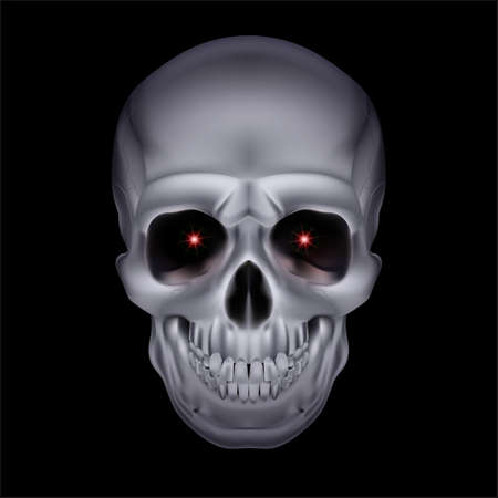 Chrome mystic skull with red sparks in the eyes on black background. Stock Vector - 24012089