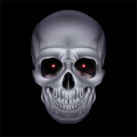 horrid: Chrome mystic skull with red sparks in the eyes on black background. Illustration