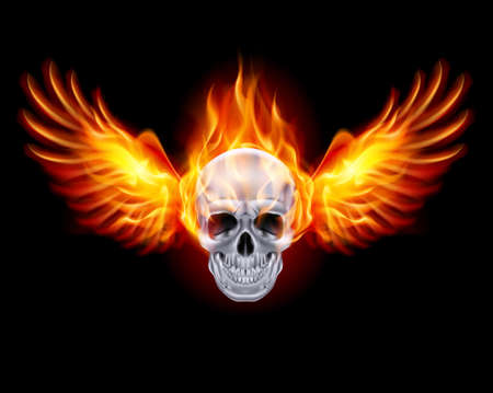Fiery skull with fire wings on black background. Vector