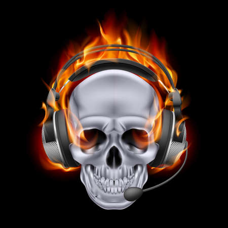 Illustration of chrome fiery skull in headphones on black background. Vector