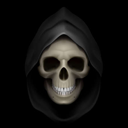 destiny: Skull in black hood as image of death. Grim Reaper.  Illustration