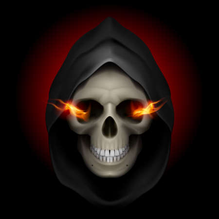 Skull in black hood with fiery eyes as image of death. Grim Reaper. Vector
