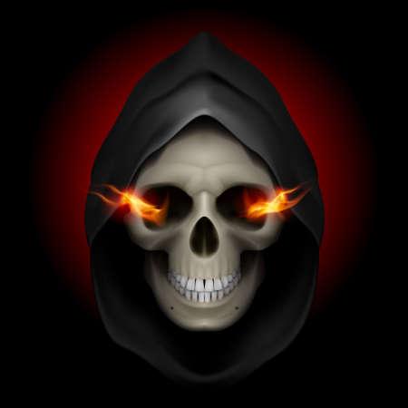 horrid: Skull in black hood with fiery eyes as image of death. Grim Reaper.