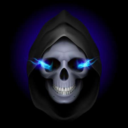 horrid: Skull in black hood with blue fiery eyes as image of death. Grim Reaper.