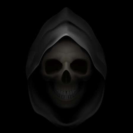 死のイメージとして黒いフードの頭蓋骨。死神。