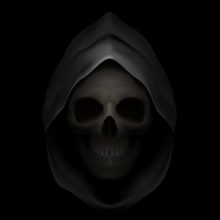 Skull in black hood as image of death. Grim Reaper.  Vector