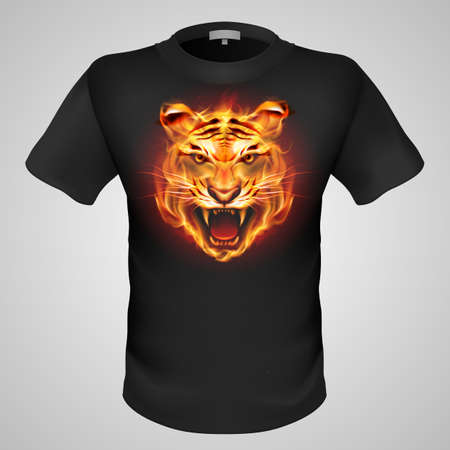 Black male t-shirt with fiery tiger print on grey . Vector