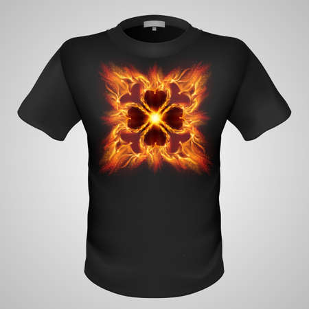 devilish: Black male t-shirt with fiery gothic pattern print on grey background.