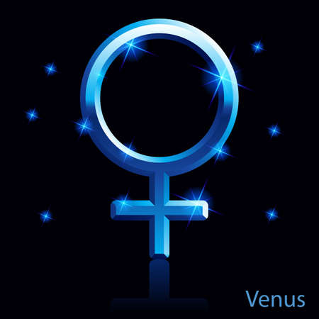 Shiny blue Venus sign on white background.  Vector