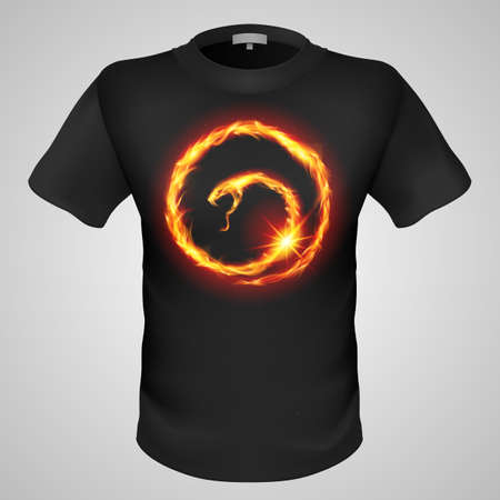 burning man: Black male t-shirt with fiery snake print on grey background. Illustration