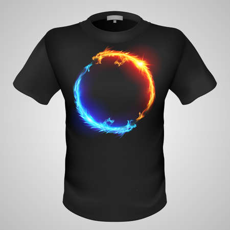 Black male t-shirt with two fiery dragons print on grey background. Vector