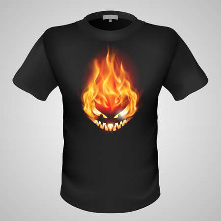 devilish: Black male t-shirt with fiery monster print on grey background.