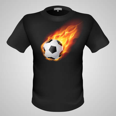 Black male t-shirt with fiery football print on grey background. Vector
