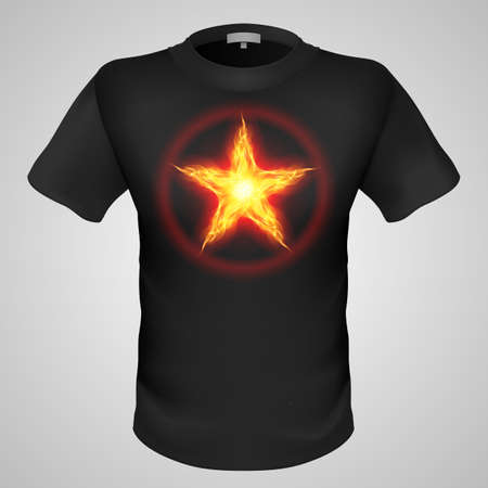 Black male t-shirt with fiery star print on grey background.