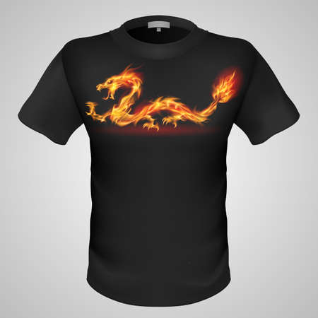 burning man: Black male t-shirt with fiery oriental dragon print on grey background.