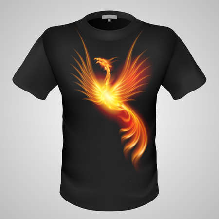 phoenix bird: Black male t-shirt with fiery phoenix print on grey background.