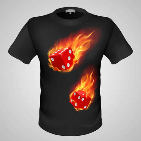 Black male t-shirt with fiery dice print on grey background. Vector