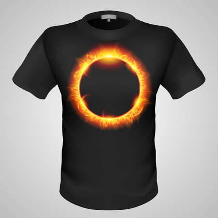 burning man: Black male t-shirt with solar corona print on grey background. Illustration