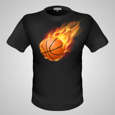 basketball ball on fire: Black male t-shirt with fiery basketball print on grey background.