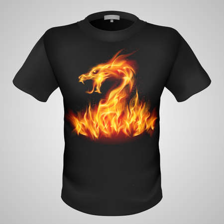 aggresive: Black male t-shirt with fiery dragon print on grey background.