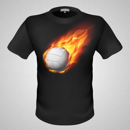 Black male t-shirt with fiery volleyball print on grey background. Vector
