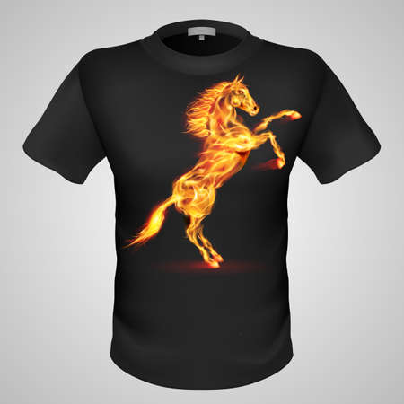 Black male t-shirt with fiery horse print on grey background.