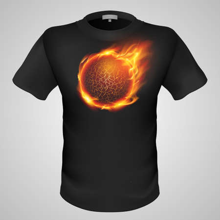 flamy: Black male t-shirt with lava ball print on grey background.