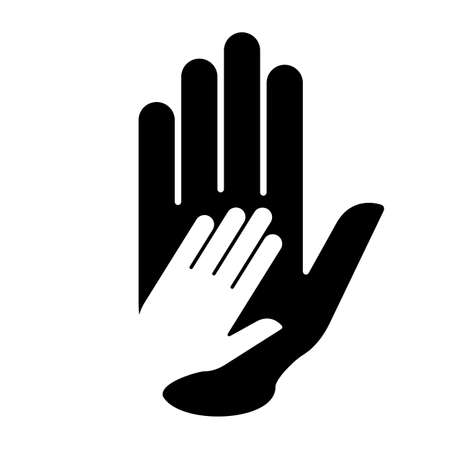 nursing mother: Hand in hand sign in black-and-white. Concept of help, assistance and cooperation.