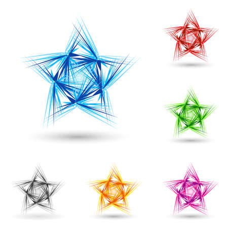 spiky: Abstract spiky star with set of color variations on white.