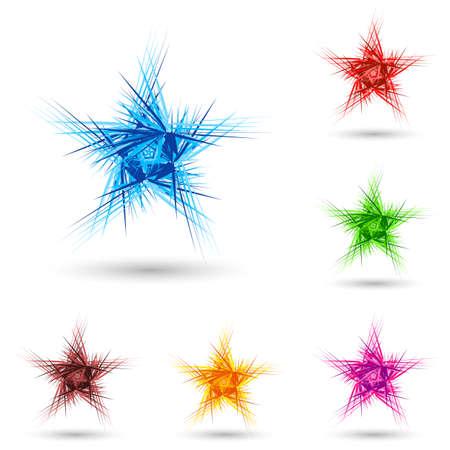 prickles: Estratto birichino stella in diversi colori su bianco.
