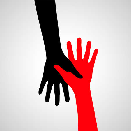 Hands of friendship in black and red colors. Help and support. Vector