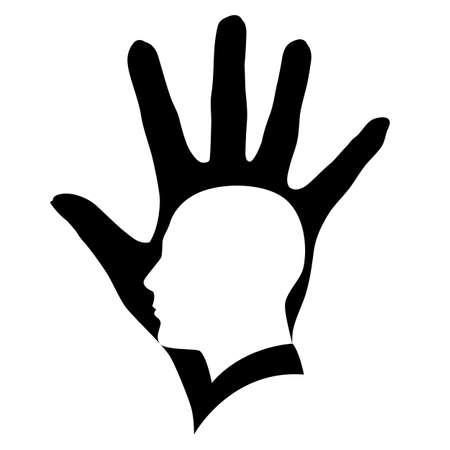intelligent partnership: Illustration of white head silhouette in black hand.   Illustration