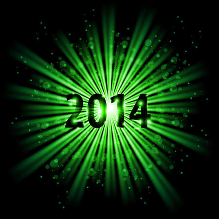2014 in green light of bursting star with sparks. New Year card. Vector